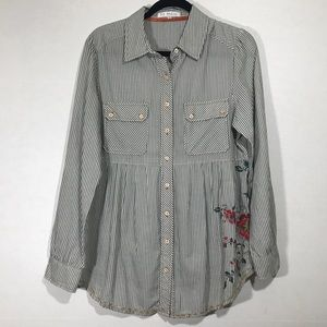 3J Workshop Striped Embroidered Button Down Blouse